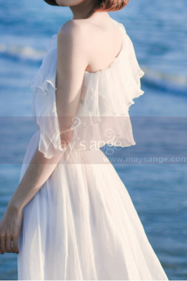 Elastic Top And Waist White Boho Beach Civil Wedding Dress - L2044 #1