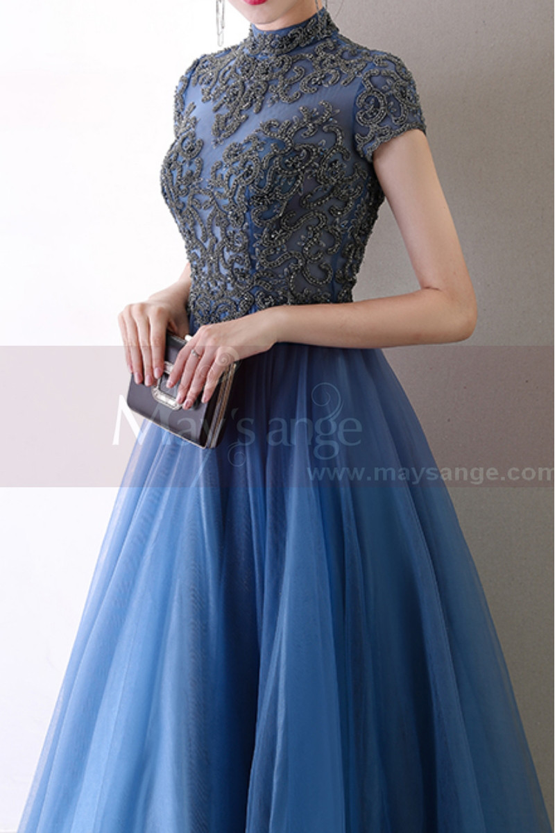 Blue Formal Dresses With Classy Top Lace And Short Sleeves - Ref L2045 - 01
