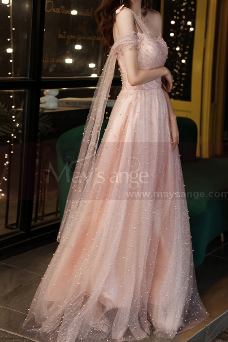 Gorgeous Peach Pink Bridesmaid Dress With Stylish Veil Top - Ref L2046 - 01
