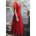 Lace Short Red Vintage Style Dress With V Neck And Sleeves - Ref L2054 - 02