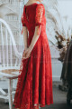 Lace Short Red Vintage Style Dress With V Neck And Sleeves - Ref L2054 - 03