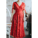 Lace Short Red Vintage Style Dress With V Neck And Sleeves - Ref L2054 - 04