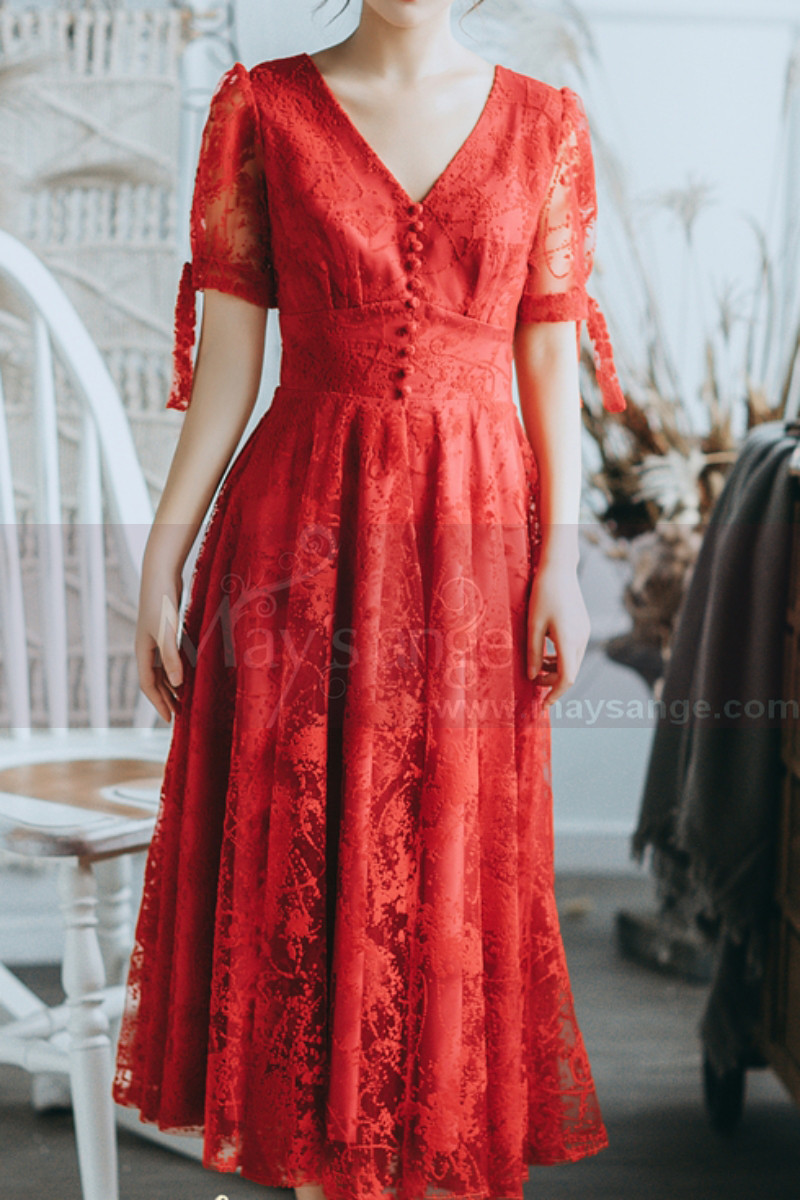 Lace Short Red Vintage Style Dress With V Neck And Sleeves - Ref L2054 - 01