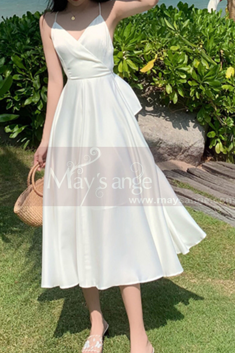 Beautiful Chiffon White Cocktail Dress With Sexy Crossed Back - Ref C2029 - 01