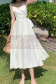 Beautiful Chiffon White Cocktail Dress With Sexy Crossed Back - Ref C2029 - 02