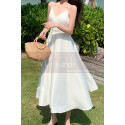 Beautiful Chiffon White Cocktail Dress With Sexy Crossed Back - Ref C2029 - 03