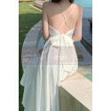 Beautiful Chiffon White Cocktail Dress With Sexy Crossed Back - Ref C2029 - 04