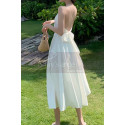 Beautiful Chiffon White Cocktail Dress With Sexy Crossed Back - Ref C2029 - 05