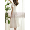 Thick Satin Off White Classy Wedding Dress With Short Sleeves - Ref M1308 - 04