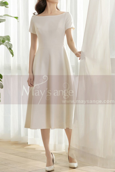 Thick Satin Off White Classy Wedding Dress With Short Sleeves - M1308 #1