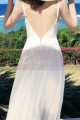 Long Backless White Beach Wedding Dresses With Thin Straps - Ref M1314 - 02