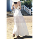 Long Backless White Beach Wedding Dresses With Thin Straps - Ref M1314 - 03