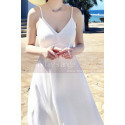 Long Backless White Beach Wedding Dresses With Thin Straps - Ref M1314 - 04