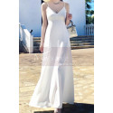 Long Backless White Beach Wedding Dresses With Thin Straps - Ref M1314 - 05