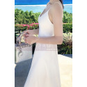 Long Backless White Beach Wedding Dresses With Thin Straps - Ref M1314 - 06