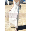 Long Backless White Beach Wedding Dresses With Thin Straps - Ref M1314 - 07