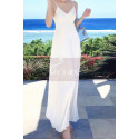 Long Backless White Beach Wedding Dresses With Thin Straps - Ref M1314 - 08