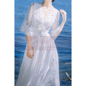 Long Sleeves Bohemian Lace Wedding Dress Scalloped Neckline - Ref M1310 - 02