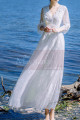 Long Sleeves Bohemian Lace Wedding Dress Scalloped Neckline - Ref M1310 - 03