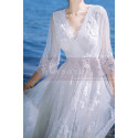 Long Sleeves Bohemian Lace Wedding Dress Scalloped Neckline - Ref M1310 - 04