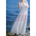Long Sleeves Bohemian Lace Wedding Dress Scalloped Neckline - Ref M1310 - 05