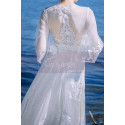 Long Sleeves Bohemian Lace Wedding Dress Scalloped Neckline - Ref M1310 - 06
