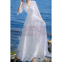 Long Sleeves Bohemian Lace Wedding Dress Scalloped Neckline - Ref M1310 - 07