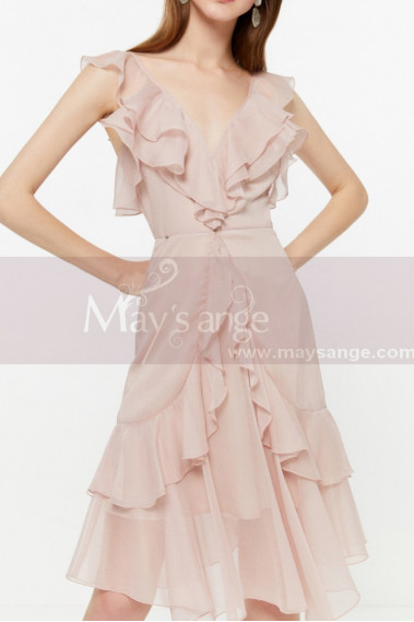 Short Chiffon Pink Cocktail Dress Ruffle Neckline And Skirt - C2030 #1