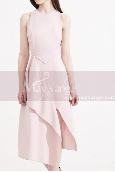 Satin Sexy Party Dresses Pink With Fashion Slit Skirt Style - C2032 #1