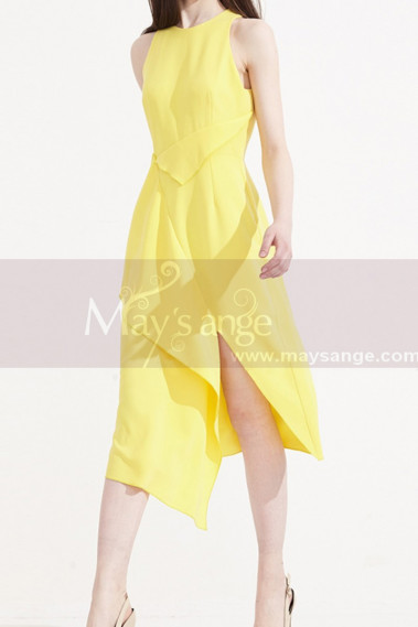 Pretty Cocktail Yellow Summer Dress With Trendy Cutout Skirt - C2033 #1