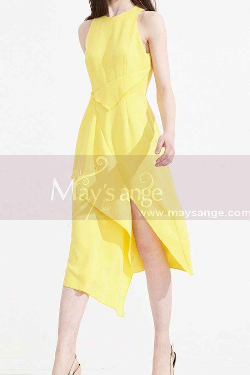 Pretty Cocktail Yellow Summer Dress With Trendy Cutout Skirt - Ref C2033 - 01