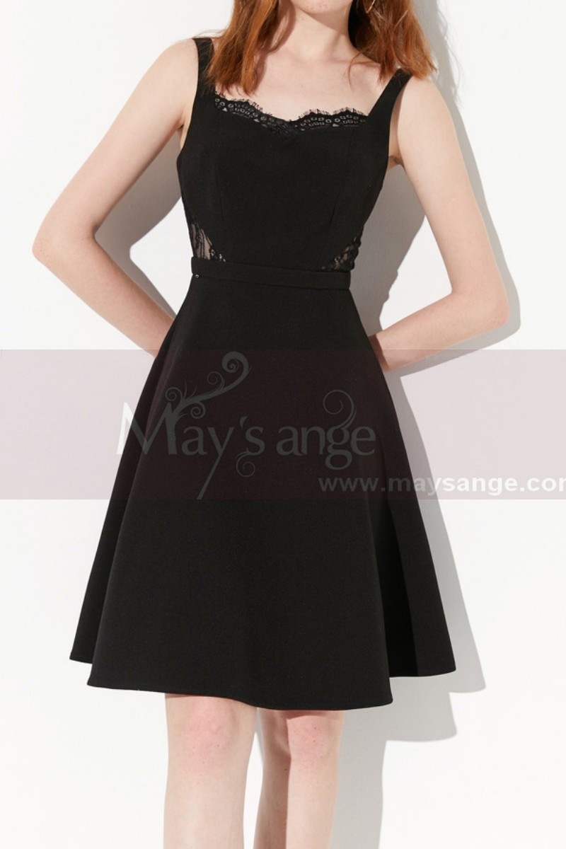 Cute Lace Cutout Top Little Black Dress With Flarred Skirt - Ref C2037 - 01