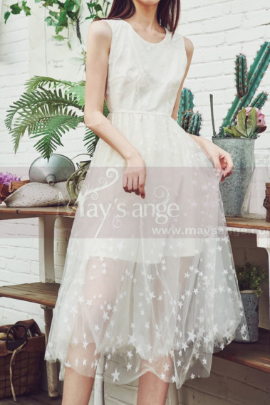 Sleeveless Casual White Dress With Tulle Starry Midi Skirt - C2039 #1