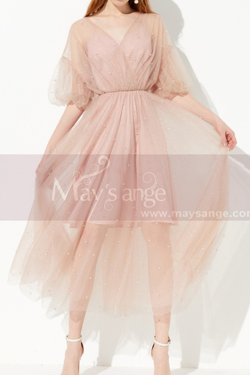 Pink Sheer Sleeves Party Dresses For Women With Short Lined - Ref C2041 - 01