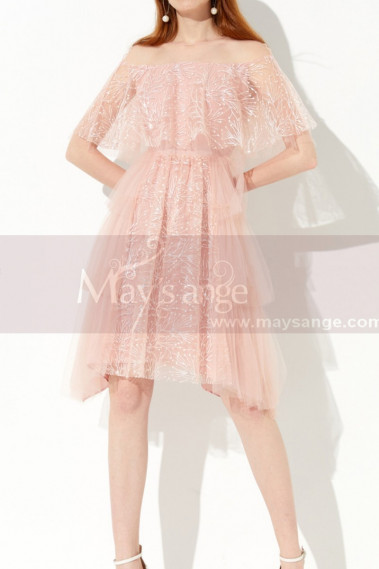 Bi-Material Trendy Pink Beautiful Cocktail Dress For Wedding - C2045 #1