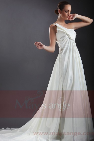 White wedding dress - Cheap wedding dress Roma With One-Shoulder - M051 #1