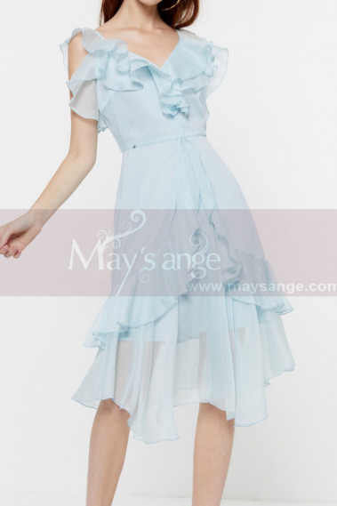 Light Blue Sky Short Cheap Summer Dress Chiffon With Ruffle - C2049 #1