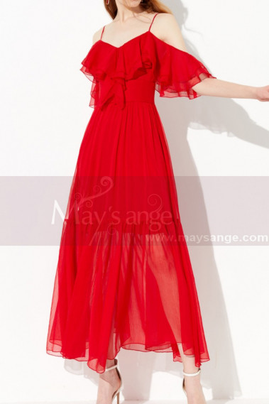 Pretty Ruffle And Straps Light Summer Long Red Dress Chiffon - L2048 #1