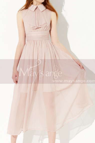 Pink Sleeveless Peter Pan Collar Prom Dress With Draped Belt - L2050 #1