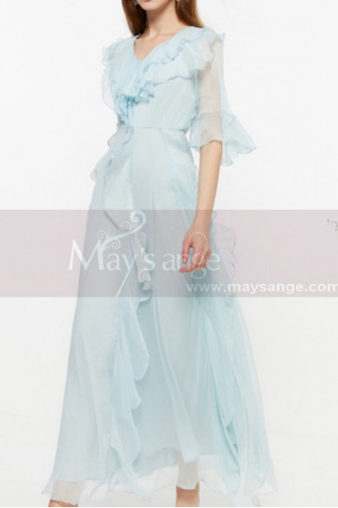 Chiffon Light Blue Long Bohemian Attire For Women With Sleeve - L2051 #1
