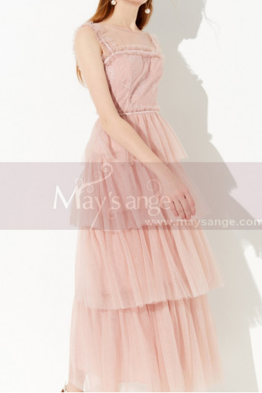 Long Pink Elegant Party Dress Lace Top And Tulle Ruffle Skirt - L2049 #1