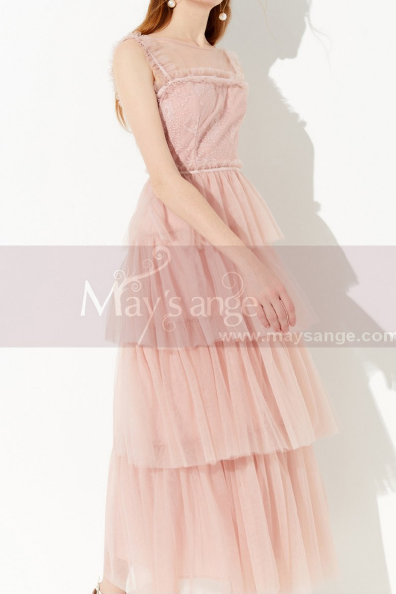 Long Pink Elegant Party Dress Lace Top And Tulle Ruffle Skirt - Ref L2049 - 01
