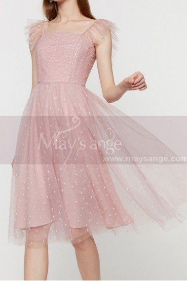 Stylish Pink Short Prom Dress Tulle Skirt And Thin Draped Top - C2025 #1