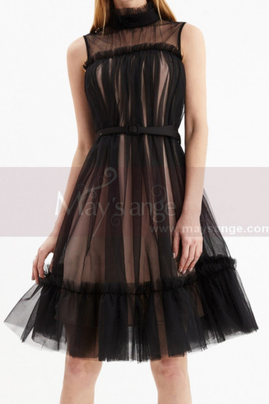 Sleeveless Tulle Short Black Reception Dress With Nude Lined - C2048 #1