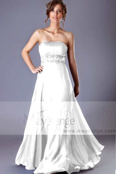 Long Strapless Wedding Dresses With Pretty Rhinestone Belt - M1318 #1