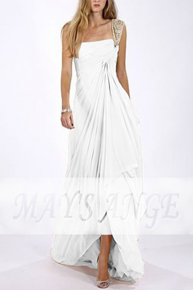 One Strap Flowy Wedding Dress With Pleated Asymmetric Skirt - M1319 #1