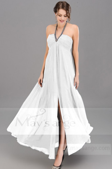 Minimalist Wedding Dress With Eye Catching glitter Neck Strap - M1320 #1