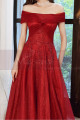 Beautiful Red Formal Evening Gowns Crossover Strapless Style - Ref L2043 - 02