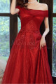 Beautiful Red Formal Evening Gowns Crossover Strapless Style - Ref L2043 - 04