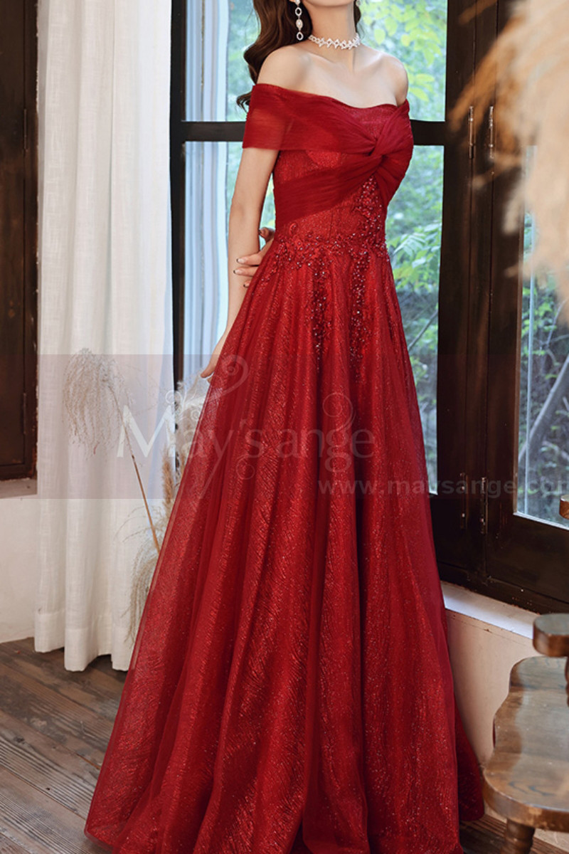 Beautiful Red Formal Evening Gowns Crossover Strapless Style - Ref L2043 - 01